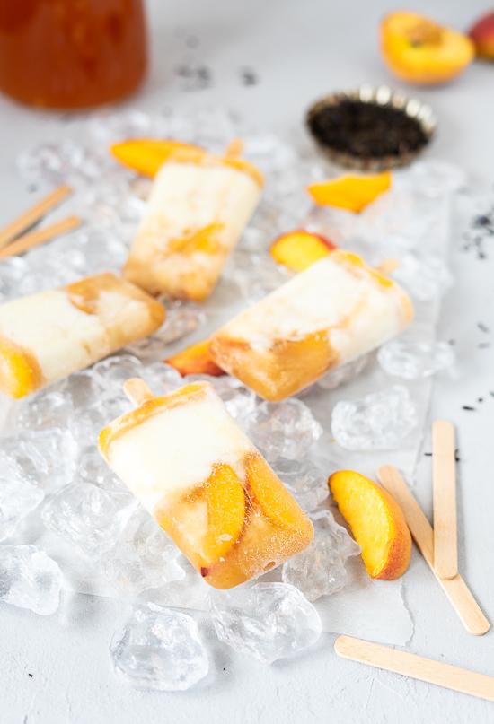 Pfirsich Eis am Stiel