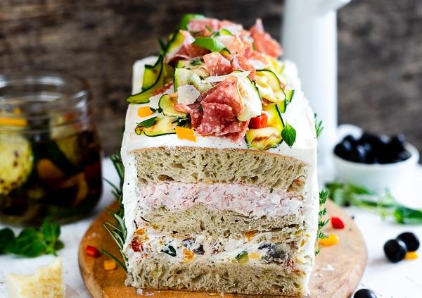 Ciabatta Brot Torte Mit Antipasti Creme Und Salami Meine