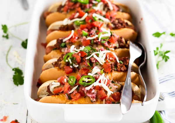 oven baked, loaded Chili Dogs