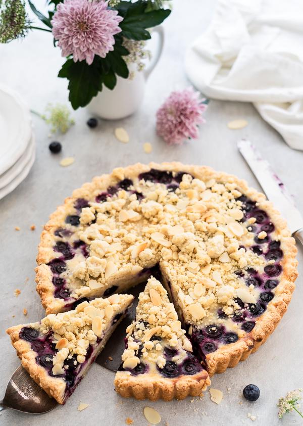 Blaubeer-Pudding Streuselkuchen