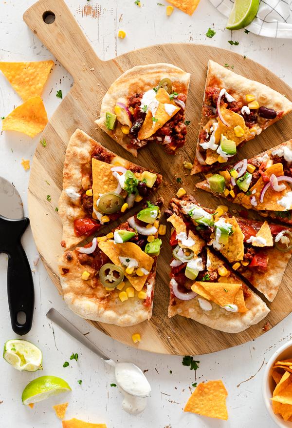Taco Pizza mit Tortillas