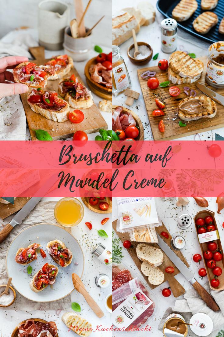 gegrilltes Ciabatta, Mandel Creme Brotaufstrich, Tomaten, Schinken, Salami, Tomaten, Bruschetta REWE Feine Welt 9