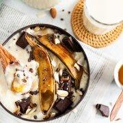 Couscous Frühstücks Bowl mit Banana und Schokolade