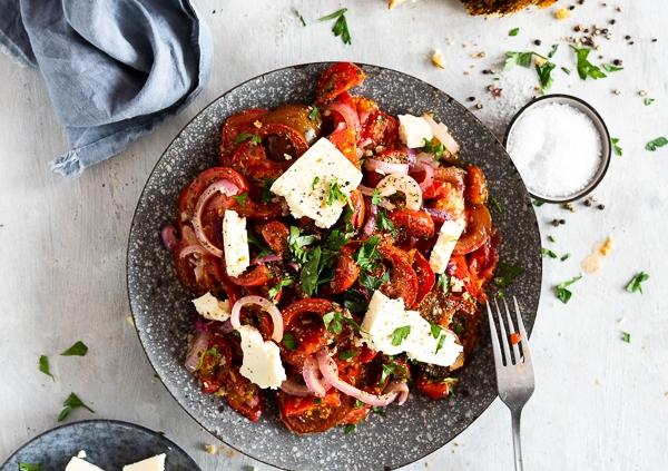 warmer Ofen Tomaten Salat