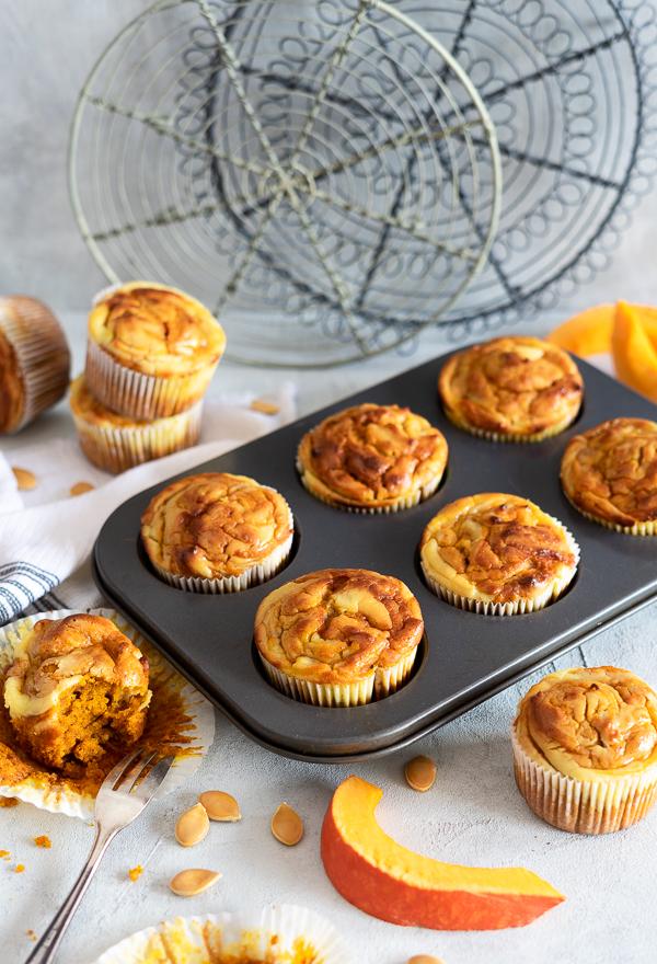 Kürbis Muffins mit Käsekuchen