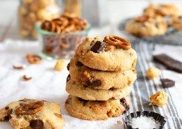 Popcorn-Brezel-Schokoladen Cookies