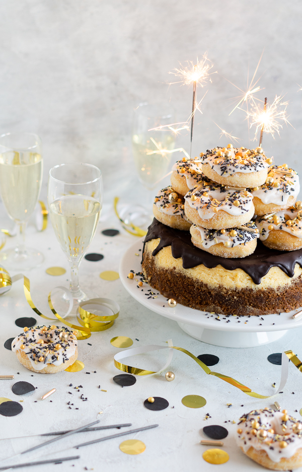 Champagner Drip Cheesecake Glitzr Zuckerstreusel Champager Donuts