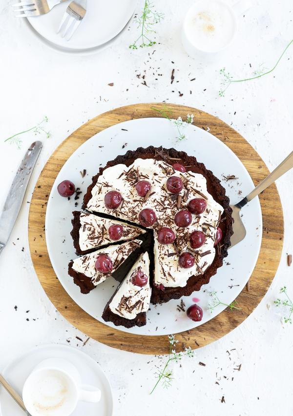 no bake Schwarzwälder Kirsch Schokoladen Tarte